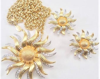 KJL Spinning Sunflower Necklace Set - 2 in 1 Two Tone with Crystals  PIN PENDANT- S1946