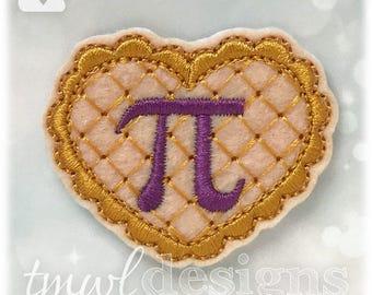 """Pi Pie Heart Feltie Digital Design File - 1.75"""""""