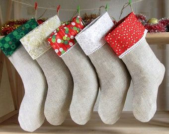 5 Family Christmas Stockings, Personalized Christmas Stockings, Burlap Christmas stockings, Red Christmas Ornaments, Christmas decoration