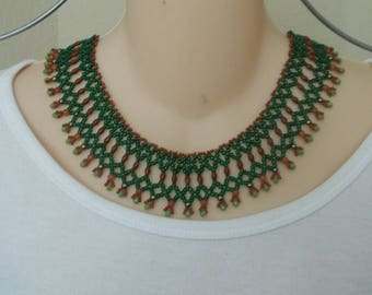 Green and sienna bib necklace