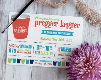 Printable Pregger Kegger Baby Shower BBQ Coed Invitation