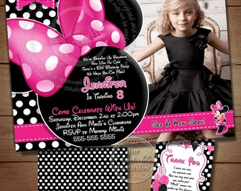HUGE SELECTION Minnie Mouse Birthday Invitation, DIY Pink Polka Dot Minnie Mouse, You Print Birthday Invitation, Free Thank You Card
