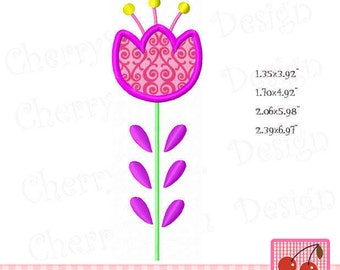 Spring flower, Single flower, Flower Digital Embroidery Applique SPRING11- for 4X4 5x7 6x10 hoop-Machine Embroidery Applique Design