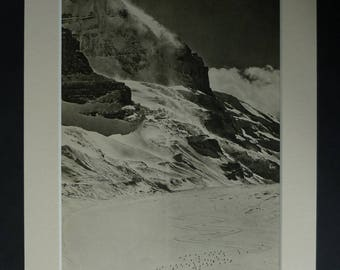 1940s Antique Athabasca Glacier Print, Available Framed, Mountain Art, Old Canadian Rockies Wall Art, Army Picture, Columbia Icefield Gift