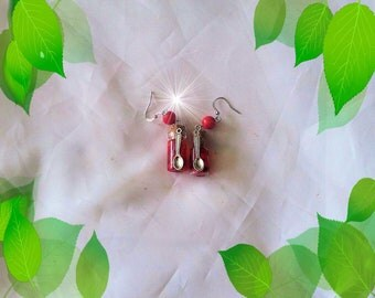 Earrings, polymer clay, glass bottle, strawberry jelly, handmade, kawaii, and candy