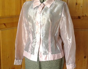 Vintage sheer see through pink button down rayon blouse