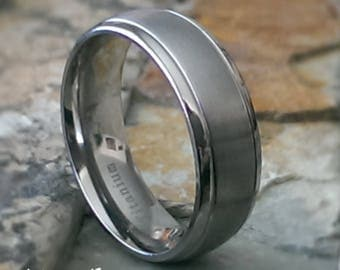 Titanium 8mm Band with a Satin Brushed Center and Dual Grooved Channels Personalized Mens Womens Wedding Ring Band ( FREE ENGRAVING ) AZ206