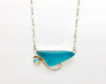 Sea glass necklace with opal, Aqua seaglass pendant, Blue seaglass pendant