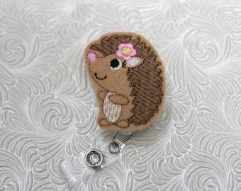 sweet hedgehog  - nursing badge holder - retractable - badge reel - name badge holder - felt  badge reel - badge pull - nurse
