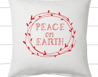 Red and White Peace On Earth Christmas Pillow and Insert Christmas Decoration Christmas Saying Holiday Pillow Red White Christmas