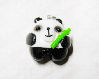Kawaii Panda Tinybear Necklace - handmade, woodland, cute, bear, polymer clay, bamboo, panda jewellery, panda necklace