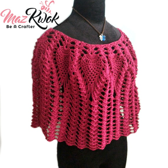 Crocheted Lacy Love Poncho - free worldwide shipping