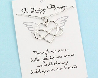 In Memory of a Baby . Silver Necklace . Infinity Heart . Memorial Charm . Angel Wings . Infant Loss Gift . Sterling Silver . Remembrance