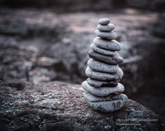 Rock Cairn, Lake Superior Rocks, Zen Art, Stacked Rocks, Square Photo Print, Nature, Brown Grey, Sepia, Balance, Meditation, Yoga, Zen Decor
