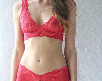 Red Lace Bralette Matching Lingerie Set, Handmade Underwear from Brighton Lace