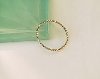 14k beaded ring, 14k yellow gold beaded ring, 14k full bead ring, 14k midi ring, 14k dot ring, 14k stack ring, 14k knuckle ring, Thumb ring