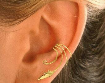 Delicate Leaf NonPierced Ear Cuff, Ear Wraps a PAIR in Sterling or Gold Vermeil  #CQ-LF-pr
