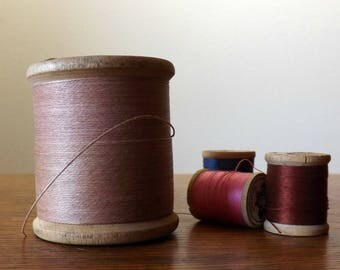 Giant Spool of Linen Thread ~ Conso ~ Wood Spool with Rose Pink, 3-Cord, Heavy Duty Waxed Thread ~ 4 Oz. Spool ~ Vintage Sewing Collectible