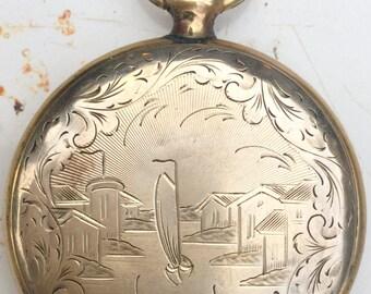 Victorian jewelry, Antique Locket. Aesthethic. Gold fill. Engraved. Locket. Heirloom. Keepsake. Bride gift. pendant LA