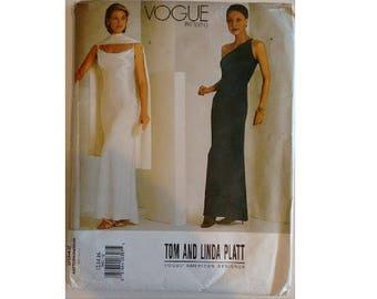 "UNCUT Vogue American Designer #2042 Tom and Linda Platt Evening Bridesmaid Wedding Dress Gown Sewing Pattern 3 Sizes Bust 34""-38"" UK 12-16"