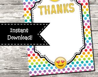 Instant Download Emoji Rainbow Polka Dot Thank You Card Digital Printable