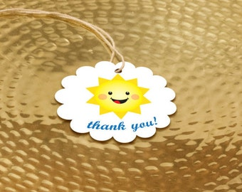 40+ Sunshine Party Favor Tags, Boys First Birthday Thank You Labels, You Are My Sunshine Tags, Mr. Golden Sun Favors