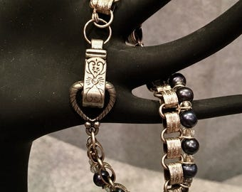Silver Bookchain and Pearl Bracelet