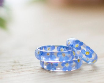Real Flower Ring - Forget me Nots, Botanical Jewellery , Something Blue , Pressed Flower Ring , Nature Jewellery , Resin Ring , Blue Ring