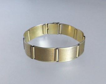 ART DECO GOLD 14k Plated 925 Silver Panel Link Bracelet Hammered Abstract 1920s 1930s - Excellent Condition !