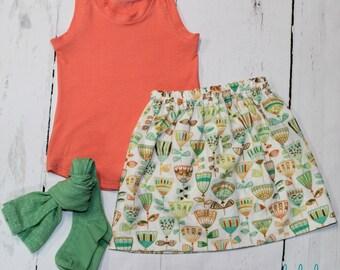 Boho Floral Skirt in Green, Girls Cotton Skirt, Tulip Print Girls Skirt, Knee Length Skirt, Toddler, Baby Skirt, Basics, Hudson in Leaf