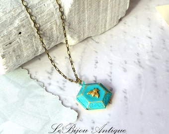 Bee Locket Necklace small Honeycomb in blue with tiny gold brass Bee on antique bronze chain Hexagonal keepsake Gift for her