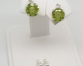 2.29ctw Peridot & White Sapphire Sterling Silver Stud Earrings