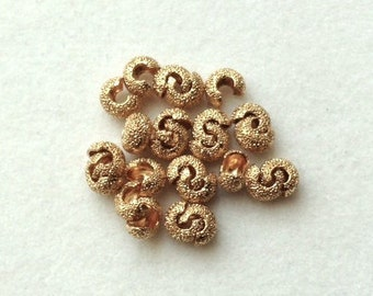 4mm Stardust Gold Plated Crimp Covers - 24 pieces