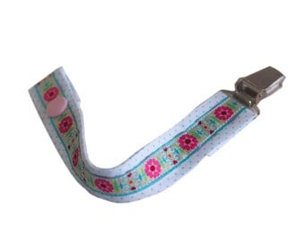 Baby, dummy clip, pacifier clip, flower, ribbon, handmade, newborn baby, dummy saver