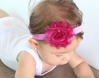 Hot Pink Headband, First Baby Headband, Headband with Flower, Flower Baby Headband, Baby Girl Headband, Pink Baby Headband, Newborn Headband