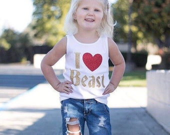 I HEART BEAST Beauty Princess Belle Love bodysuit Tee Shirt or Tank Top baby kids adult ladies girls