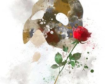 The Phantom of the Opera ART PRINT illustration, Movie, Wall Art, Home Decor, Mask, Rose