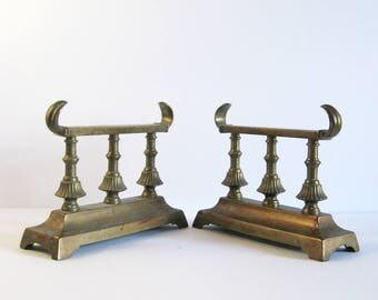Pair of Vintage Brass Andirons - Brass Fireplace Decor - Decorative Brass Shelf Brackets - Brass Home Decor Hollywood Regency Heavy Bookends