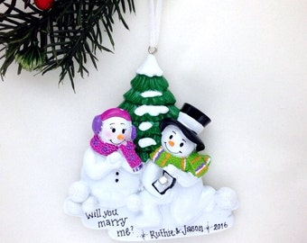 Engagement Personalized Christmas Ornament / Snowman Proposal Ornament / Engaged Couple / Our First Christmas