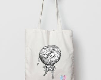 Mummy Tote Bag // Mummy Canvas Bag // Organic Cotton Eco Bag // Funny Tote // Illustration Shopper Bag
