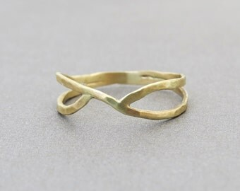 Unique Gold Ring, Gold Infinity Ring, 14k Gold Ring, Hammered Gold Ring, Unique Infinity Ring, Infinity Gold Ring, Gift