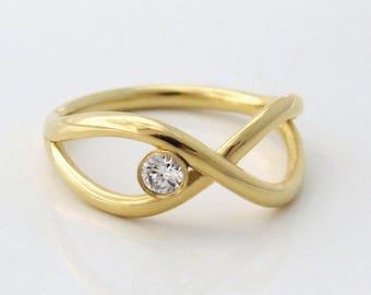 Infinity Engagement Ring, Unique Engagement Ring, Unique Diamond Ring, Diamond Engagement Ring, Infinity Diamond Ring, 14k Gold Diamond Ring