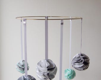 Shabby Chic Baby Mobile - Mint/Grey/White Nursery Decor