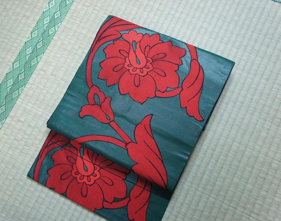 Japanese obi belt dark green with red flowers, green Nagoya obi peony flower, vintage silk obi belt, floral obi flower hibiscus kimono sash