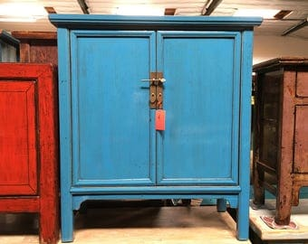 Antique Chinese Storage Cabinet in Lacquered Blue (Los Angeles)