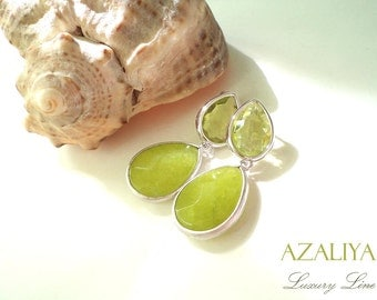 Peridot Chandeliers in Silver. Green Teardrops. Green Dangles. Peridot Drop Earrings. Azaliya Luxury Line. Bridal, Bridesmaids Earrings Gift
