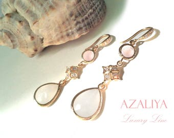 Bridal Chandeliers Rose Quartz and White Opal Crystals. Pastel Pink & White. Azaliya Luxury Line. Wedding, Bridesmaid Earrings. Dangles.