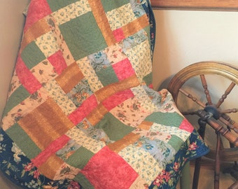 Handmade quilts for sale, homemade quilts, lap quilt, floral quilt, patchwork quilt, country quilt, rustic home, victorian, gift for her