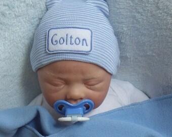 Baby Boy Hospital Hat. Newborn Hospital Hat. Newborn Hospital Beanie. Personalized Newborn Hat. Newborn Boy Coming Home