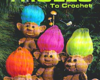 Vintage Crochet Pattern Trolls and Boy and Girl Clothes  Amigurumi Soft Toy Retro 1970s Gonk Gnomes